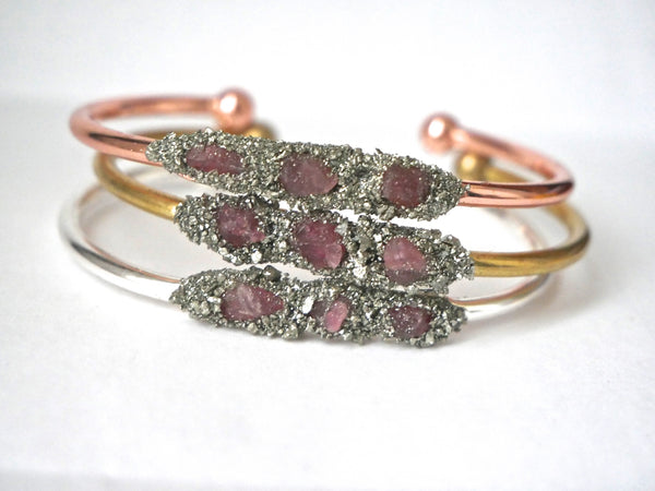Handmade Pink Tourmaline Bangle - SeekChicCo