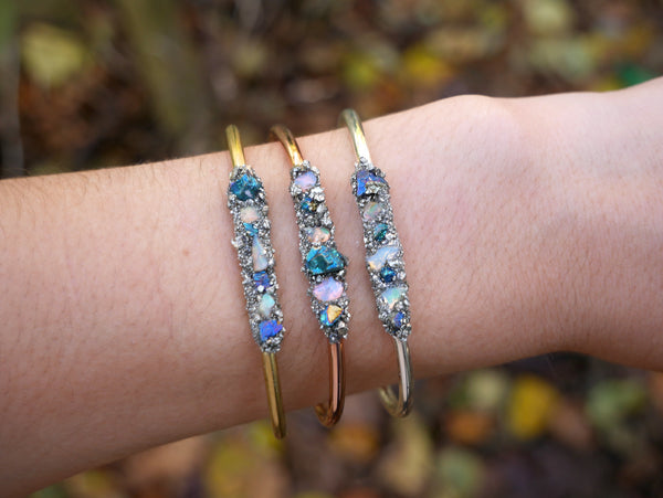 Handmade Peacock Ore & Opal Bangle - SeekChicCo