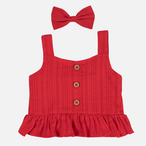Coco Button Top - Red Noella