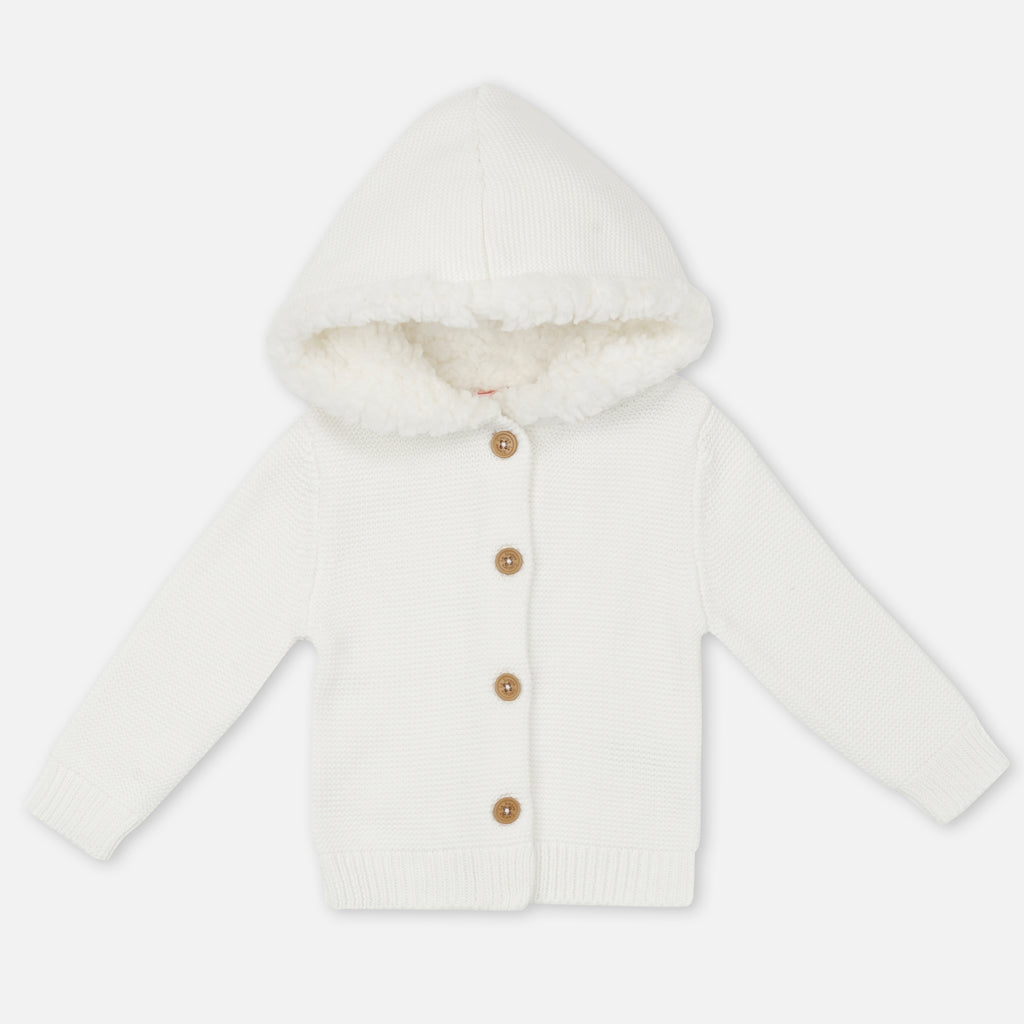 Fur Hood Knitted Cardigan - Off White