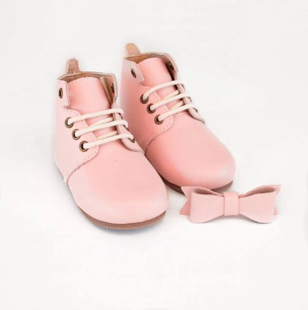 Lace Up Boots - Baby Pink