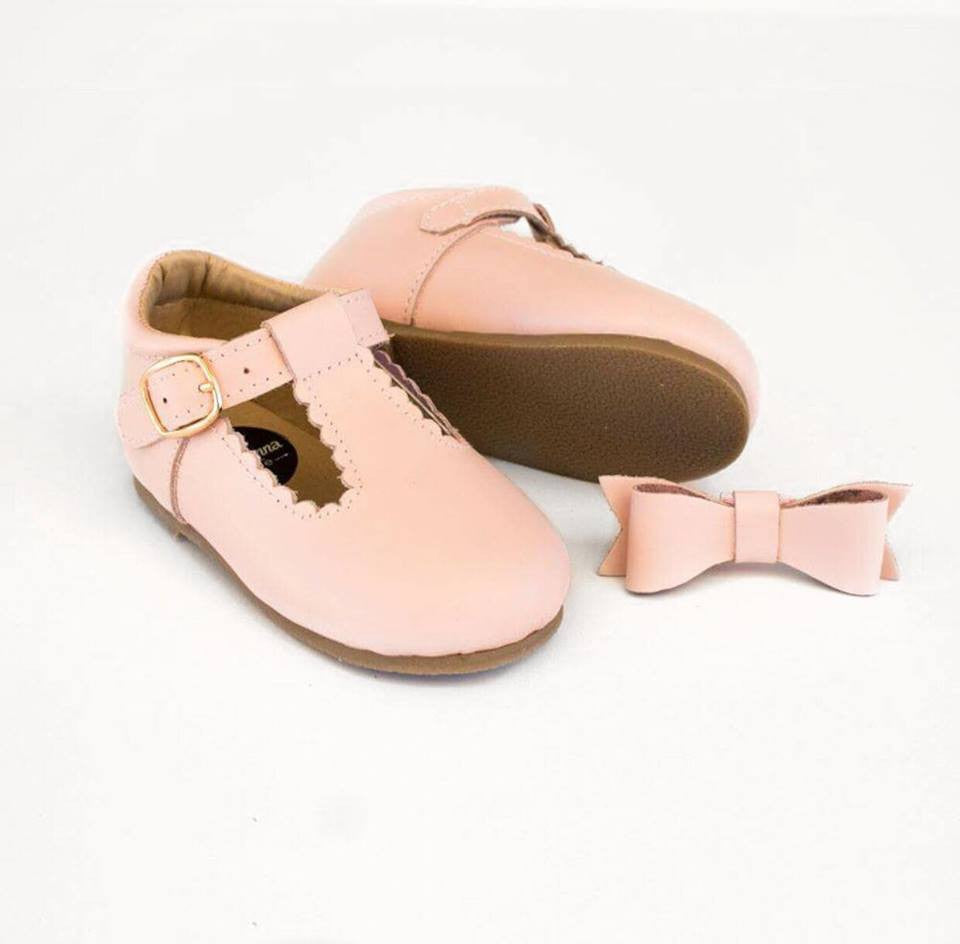 T-Bar Shoes + Matching headband - Baby Pink