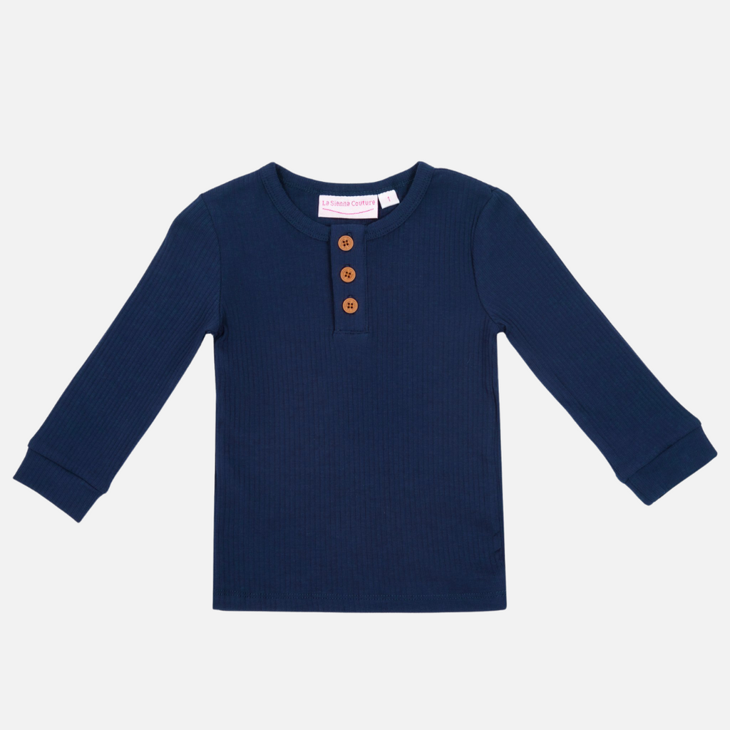 Cozy Long Sleeve Bodysuit/Top - Navy