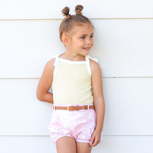 Cozy Vintage Tie-Up Singlet - Banana