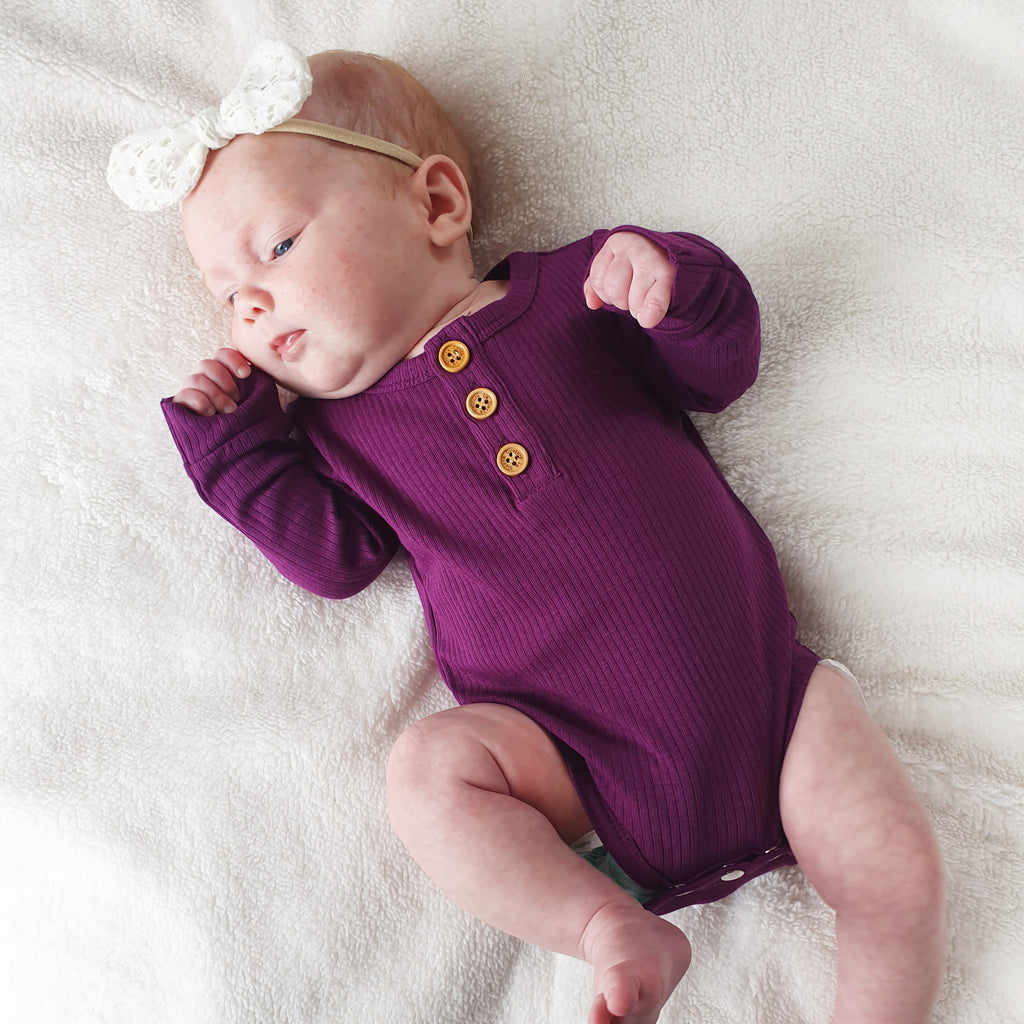 Cozy Long Sleeve Bodysuit - Regal Purple