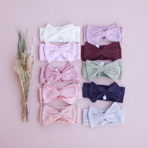 Cozy Stretchy Bow Headband - Rosewater