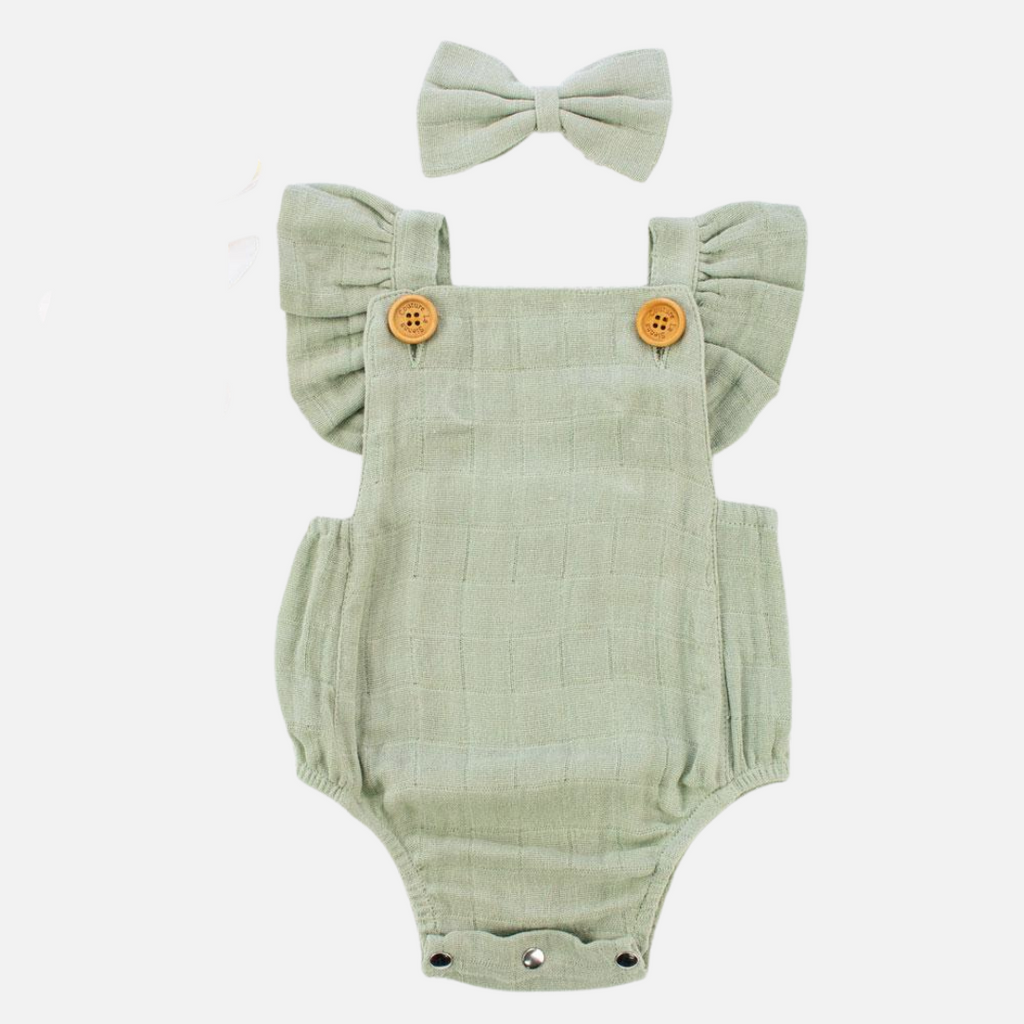 Muslin Button Romper - Sage