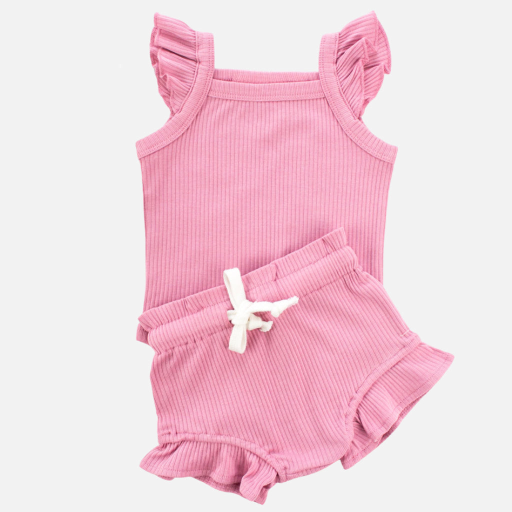 Cozy Singlet + Shorties Set - Berry