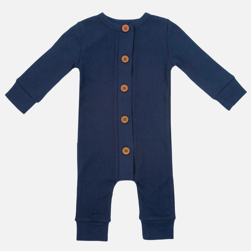 Cozy Long Sleeve Louie Romper - Navy