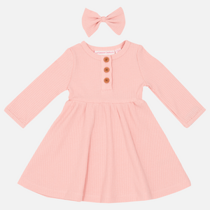 Cozy Basic LS Dress - Pink Champagne