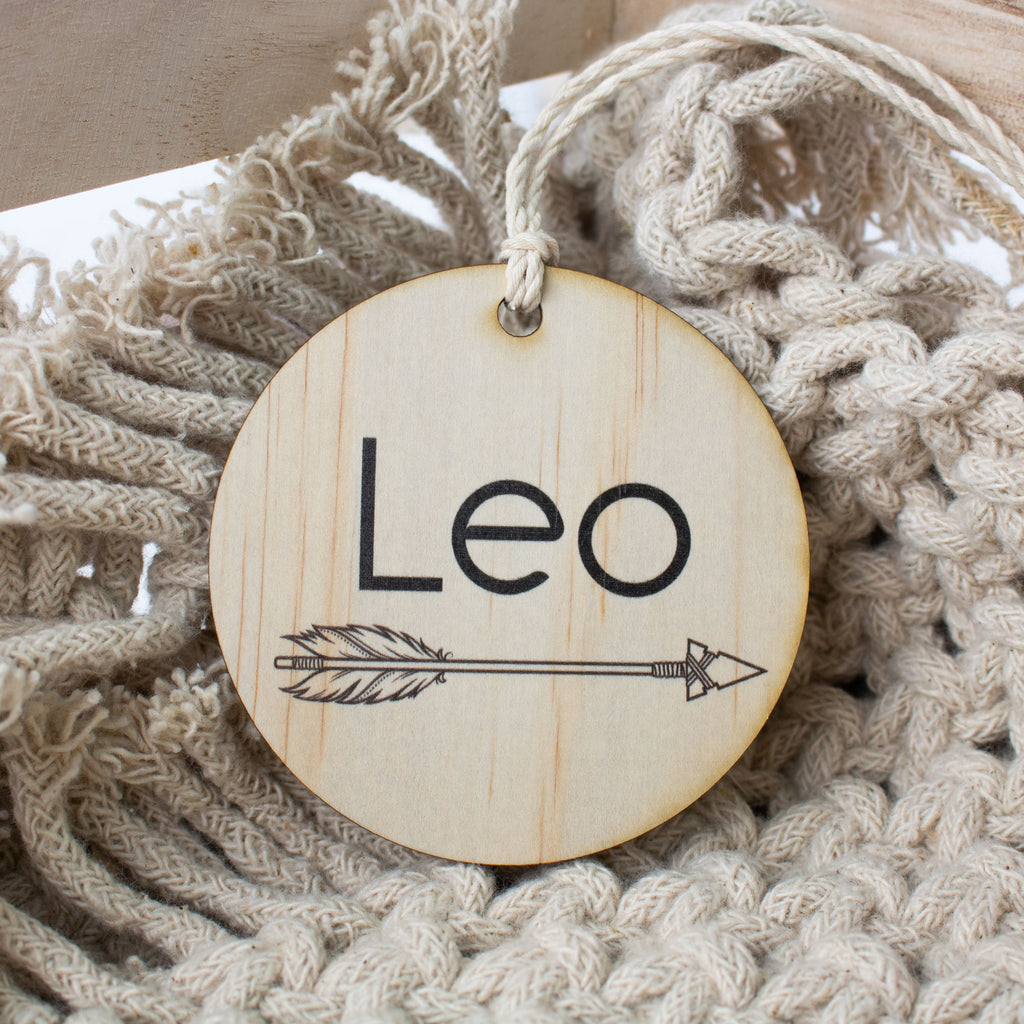 Wooden Bag Tag Disc - Arrow Name
