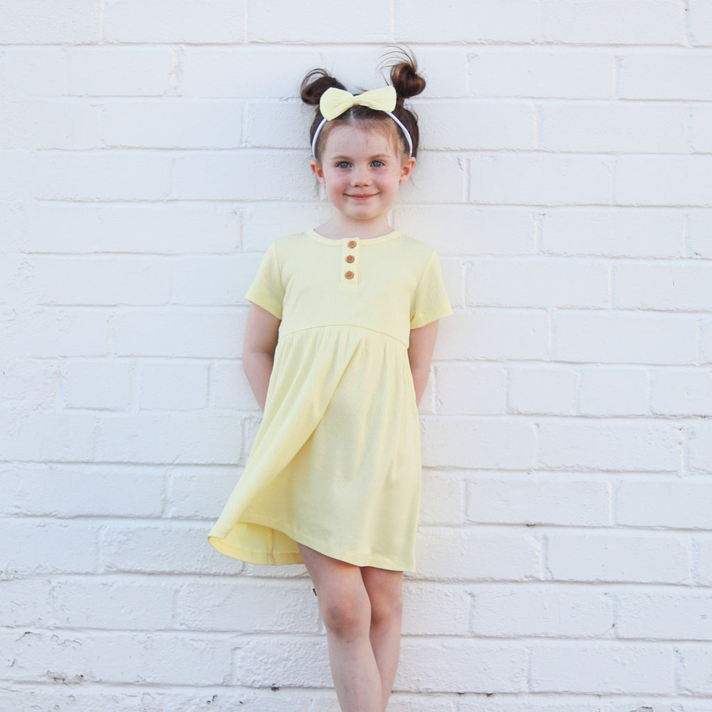 Cozy Basic SS Dress + Headband - Banana
