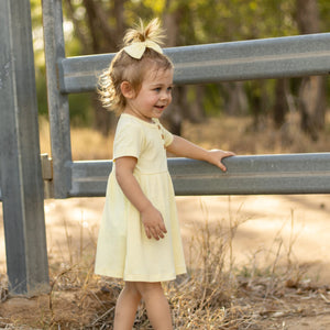 Cozy Basic Dress + Headband - Banana