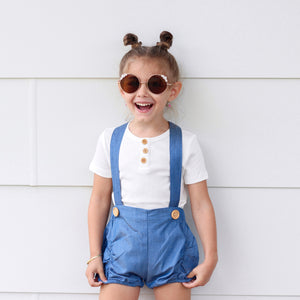 Suspender Shorts + Headband - Dark Denim