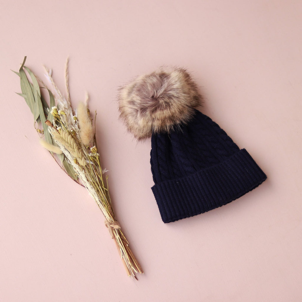 Cable Knit Beanie - Navy