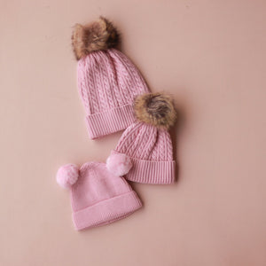 Cable Knit Beanie - Pink