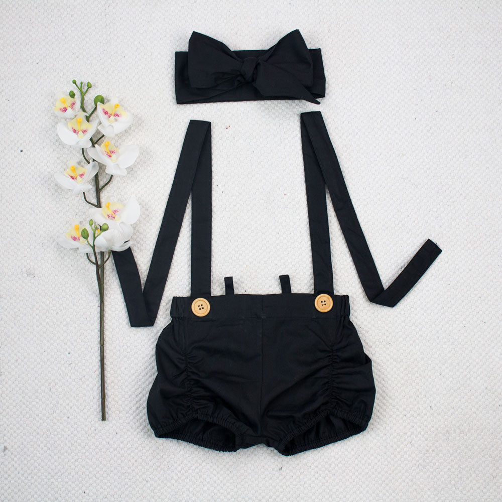 Suspender Shorts + Headwrap - Black