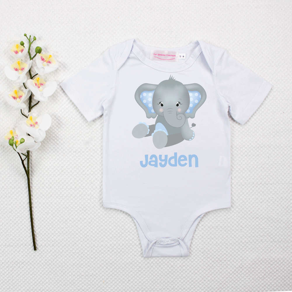 Blue Baby Elephant Unisex - Custom Name
