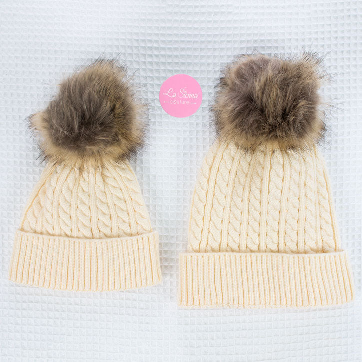 Cable Knit Beanie - Cream