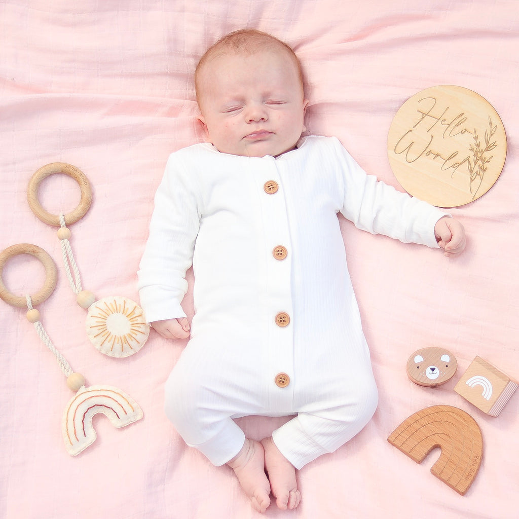 Cozy Long Sleeve Louie Romper - Coconut Milk
