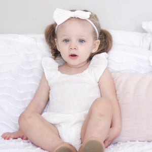 Muslin Sunsuit + Headband - Coconut