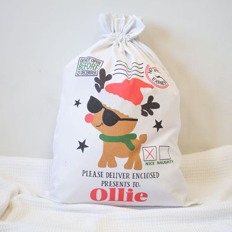 Santa Sack - Cool Reindeer - Custom Name
