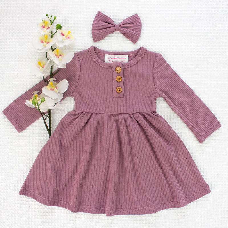 Cozy Basic LS Button Dress - Dusty Mauve