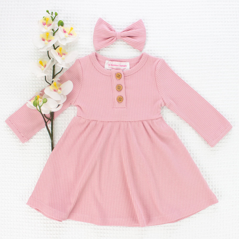 Cozy Basic LS Button Dress - Parisian Pink