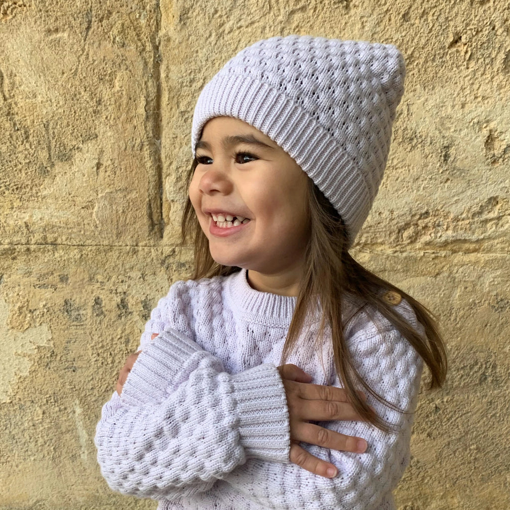 Knitted Bubble Beanie - Lilac