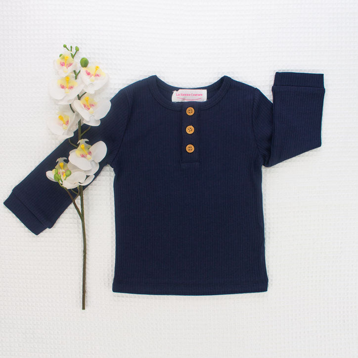 Cozy Long Sleeve Top - Navy