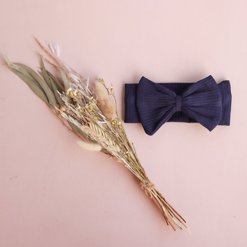 Cozy Stretchy Bow Headband - Navy