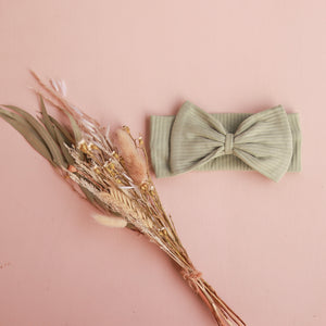 Cozy Stretchy Bow Headband - Sage