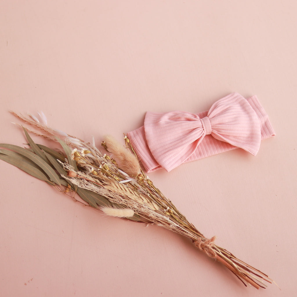 Cozy Stretchy Bow Headband - Pink Champagne
