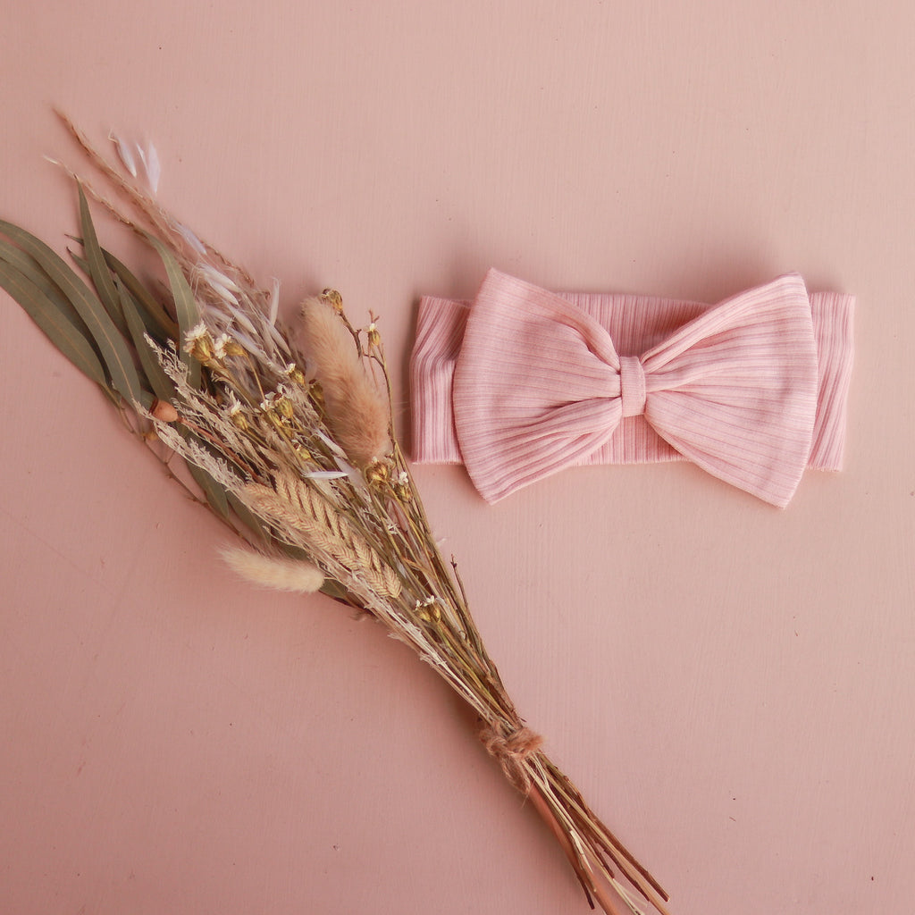 Cozy Stretchy Bow Headband - Vintage Pink