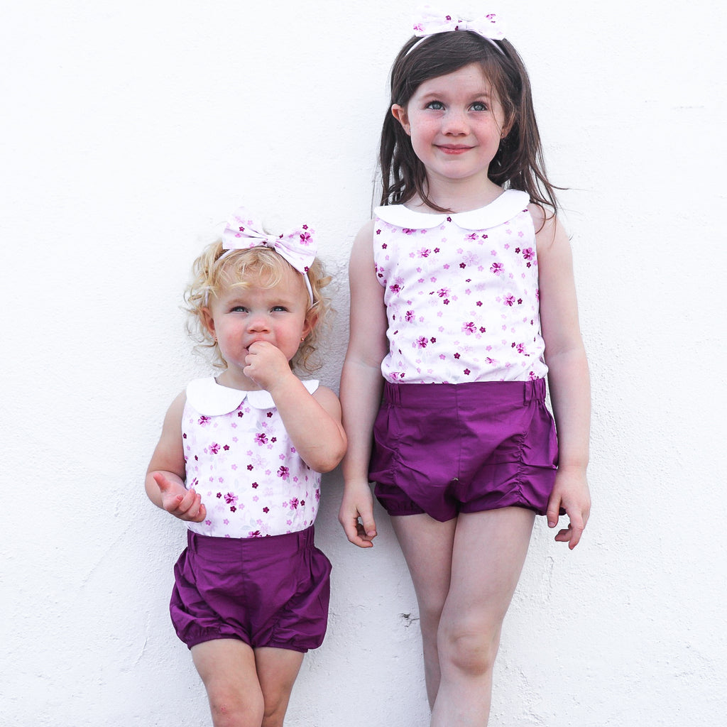 Shorts & Bow - Raisin Purple