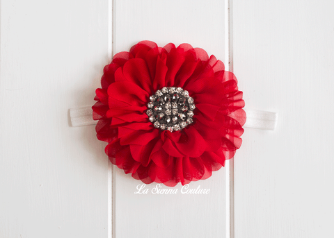 Headband Elastic - Daisy Red