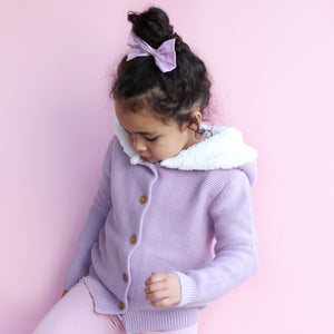 Fur Hood Knitted Cardigan - Deep Orchid