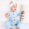 Cozy Long Sleeve Louie Romper - Dove Blue