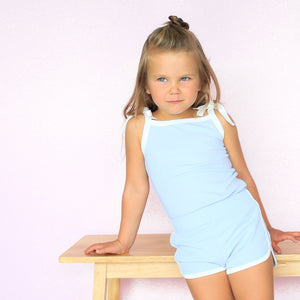 Cozy Vintage Tie-Up Singlet - Dove Blue