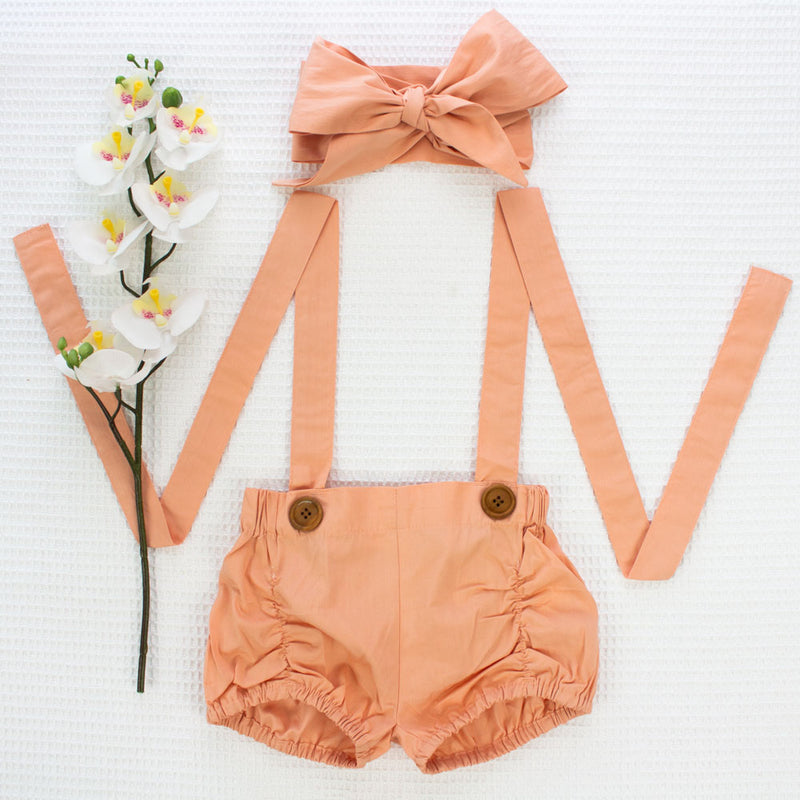 Suspender Shorts + Headwrap - Dusty Peach