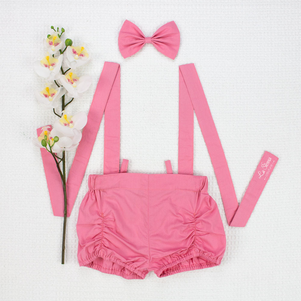 Suspender Shorts + Headband - Dusty Rose