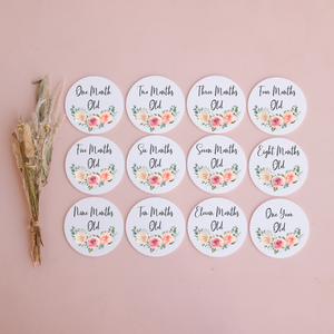 Acrylic Monthly Milestone Disc Set - Floral