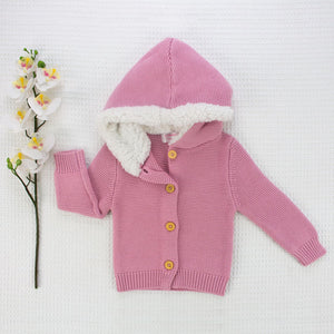 Fur Hood Knitted Cardigan - Dusty Pink