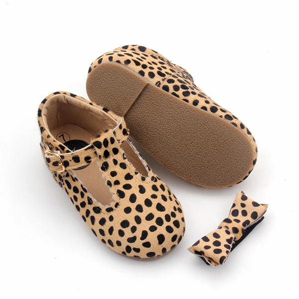 T-Bar Shoes + Matching headband - Leopard