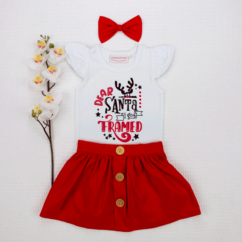Toffee Apple Button Skirt + I Was Framed Flutter Set