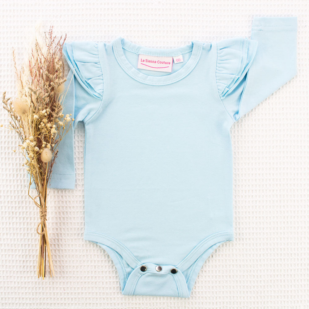 Long Sleeve Flutter - Baby Blue