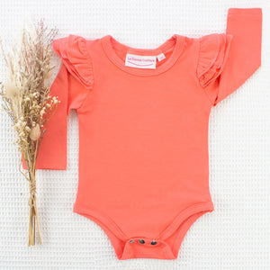 Long Sleeve Flutter Leotard/Top - Coral