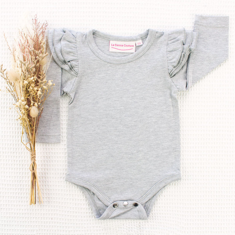 Long Sleeve Flutter Leotard/Top - Grey