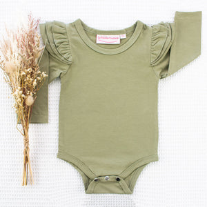 Long Sleeve Flutter - Olive