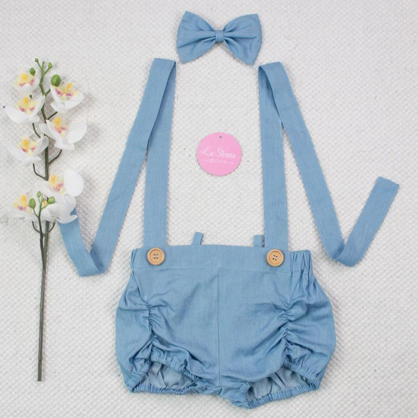 Suspender Shorts + Headband - Light Denim